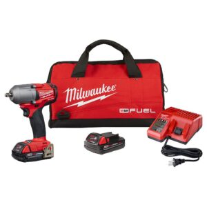 Milwaukee M18 FUEL 18-Volt Lithium-Ion Mid Torque Brushless Cordless 3/8 in. Impact Wrench W/ Friction Ring W/(2) 2.0Ah Batteries