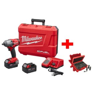 Milwaukee M18 FUEL 18-Volt Lithium-Ion Brushless 1/2 in. Mid Torque Impact Wrench With Friction Ring Kit with Socket Set (9-Piece)