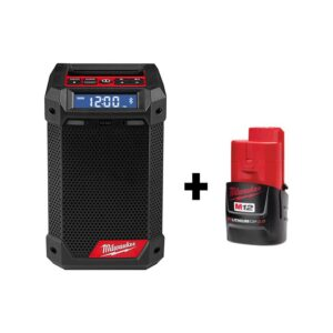 Milwaukee M12 12-Volt Lithium-Ion Cordless Bluetooth/AM/FM Jobsite Radio with Charger with M12 2.0Ah Battery