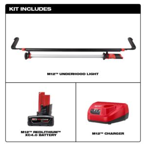 Milwaukee M12 12-Volt Lithium-Ion Cordless LED Underhood Light W/ (1) 4.0Ah Battery & Charger