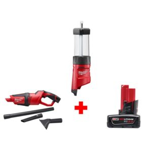 Milwaukee M12 12-Volt Lithium-Ion Cordless 400 Lumens LED Lantern/Flood Light with M12 Compact Vacuum and 3.0 Ah Battery