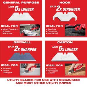Milwaukee Hook Utility Knife Blades with Dispenser (50-Piece)