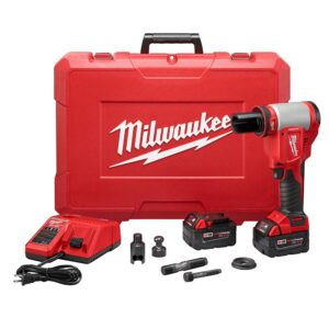 Milwaukee M18 18-Volt Lithium-Ion Cordless FORCE LOGIC Knockout Kit with (2) 3.0Ah Batteries, Charger, Hard Case
