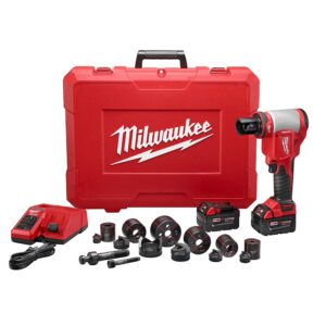 Milwaukee M18 18-Volt Lithium-Ion 1/2 in. - 2 in. Force Logic High Capacity Cordless Knockout Tool Kit /W Die Set, 3.0Ah Batteries