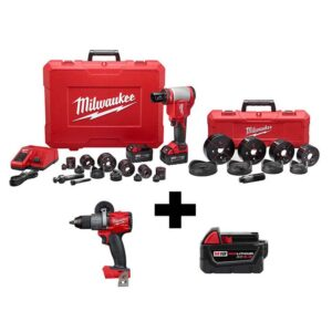 Milwaukee M18 18-Volt Lithium-Ion Cordless 1/2 in.- 4 in. Force Logic Knockout Tool Kit /W FUEL Hammer Drill & 5.0 Ah Battery