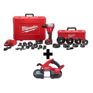Milwaukee M18 18-Volt Lithium-Ion 1/2 in. to 4 in. Force Logic High Capacity Cordless Knockout Tool Kit with FUEL Bandsaw