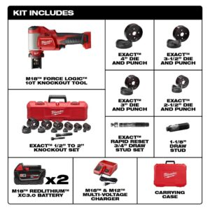 Milwaukee M18 18-Volt Lithium-Ion Force Logic Cordless 1/2 in. - 4 in. Knockout Tool Kit /W Bonus Impact Driver and Step Bits