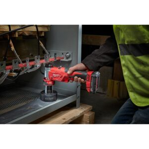 Milwaukee M18 18-Volt Lithium-Ion Cordless 1/2 in. to 4 in. Force Logic 6 Ton Knockout Tool Kit w/ Hammer Drill and Step Bits Set