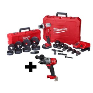 Milwaukee M18 18-Volt Lithium-Ion Cordless 1/2 in. to 4 in. Force Logic 6-Ton Knockout Tool Kit with Die Set and Hammer Drill