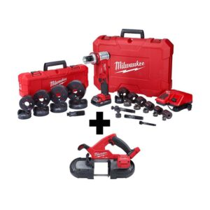 Milwaukee M18 18-Volt Lithium-Ion 1/2 in. to 4 in. Force Logic 6 Ton Cordless Knockout Tool Kit with FUEL Bandsaw