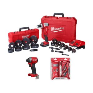 Milwaukee M18 18-Volt Lithium-Ion 1/2 in. to 4 in. Force Logic 6 Ton Cordless Knockout Tool Kit W/ Impact Driver & Step Bits