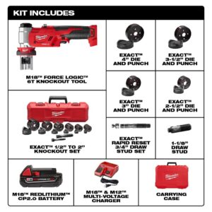 Milwaukee M18 18-Volt Lithium-Ion 1/2 in. to 4 in. Force Logic 6 Ton Cordless Knockout Tool Kit w/Die Set, (1) 2.0Ah Batteries