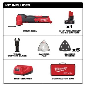 Milwaukee M12 FUEL 12-Volt Lithium-Ion Cordless Oscillating Multi-Tool Kit with 4.0 Ah Battery, Charger, Accessories and Tool Bag