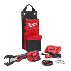 Milwaukee M18 18-Volt Lithium-Ion Cordless FORCE LOGIC 6-Ton Utility Crimping Kit with D3 Grooves and Fixed O Die