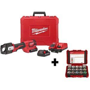 Milwaukee M18 18-Volt Lithium-Ion Cordless Force Logic 600 MCM Crimper Kit with 600 MCM Copper U-Style Die Kit