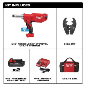 Milwaukee M18 18-Volt Lithium-Ion Cordless FORCE LOGIC 6-Ton Pistol Utility Crimping Kit with O-D3 Jaws and 2 Batteries