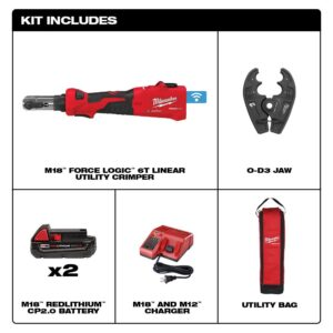 Milwaukee M18 18-Volt Lithium-Ion Cordless FORCE LOGIC 6-Ton Utility Crimping Kit with O-D3 Jaw
