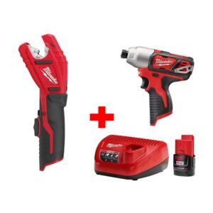 Milwaukee M12 12-Volt Lithium-Ion Cordless 1/4 in. Hex Impact and Copper Tubing Cutter Combo Kit W/ (1) 2.0Ah Battery and Charger