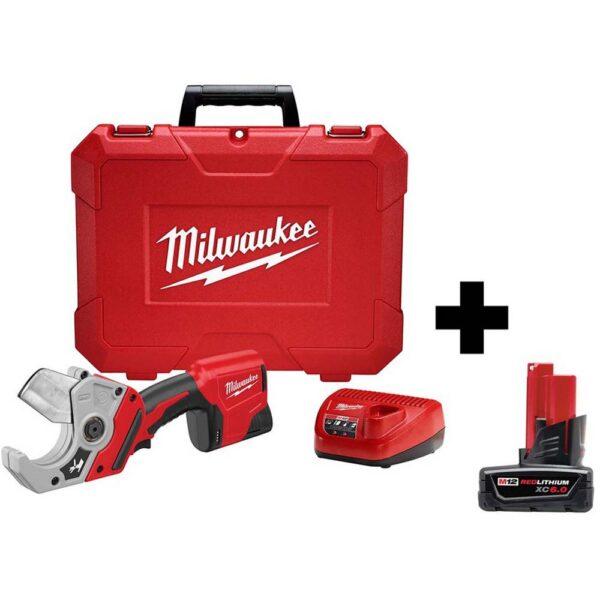 Milwaukee M12 12-Volt Lithium-Ion Cordless PVC Shear Kit W/ Free 6.0ah Battery