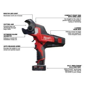 Milwaukee M12 12-Volt Lithium-Ion Cordless 600 MCM Cable Cutter (Tool-Only)