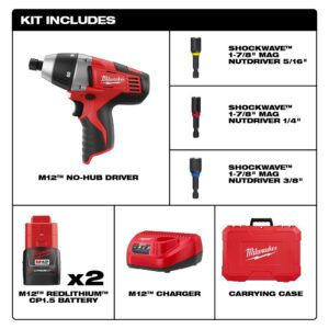 Milwaukee M12 12-Volt Lithium-Ion Cordless 1/4 in. Hex No-Hub Driver Kit W/ (2) 1.5Ah Batteries & Hard Case