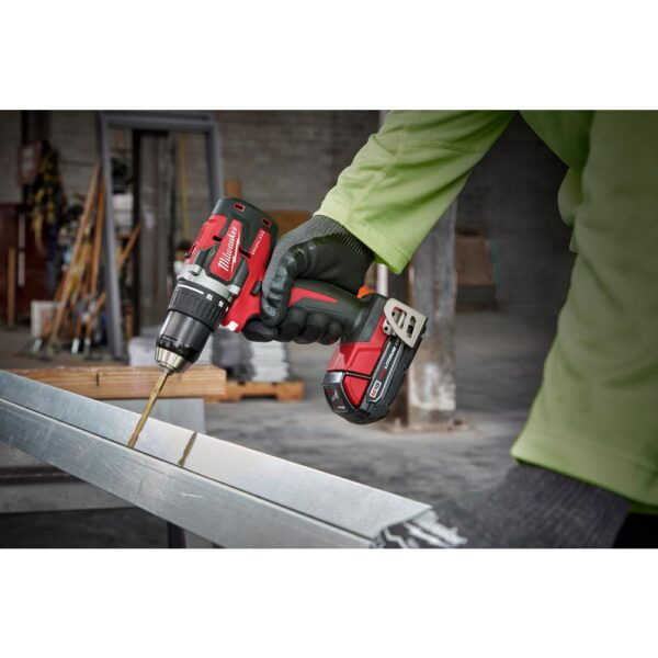 Milwaukee M18 18-Volt Lithium-Ion Brushless Cordless 1/2 in. Compact Drill/Driver Kit with (2) 2.0 Ah Batteries, Charger and Case
