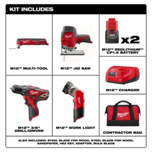Milwaukee M12 12-Volt Lithium-Ion Cordless Combo Tool Kit (4-Tool) with Two 1.5 Ah Batteries, 1 Charger, 1 Tool Bag