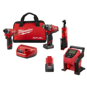 Milwaukee M12 FUEL 12-Volt Li-Ion Brushless Cordless Hammer Drill/Impact Driver Combo Kit with 3/8 in. Ratchet & Inflator (2-Tool)