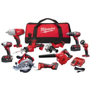 Milwaukee M18 18-Volt Lithium-Ion Cordless Combo Tool Kit (9-Tool) with (3) 4.0 Ah Batteries, Charger and Tool Bag