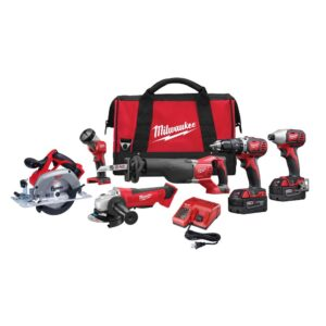 Milwaukee M18 18-Volt Lithium-Ion Cordless Combo Tool Kit (6-Tool) with Two 3.0 Ah Batteries, 1 Charger, 1 Tool Bag