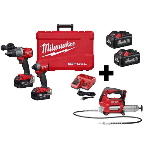 Milwaukee M18 FUEL 18-Volt Lithium-Ion Brushless Cordless Hammer Drill/ Grease Gun/Impact Driver Combo Kit (3-Tool)