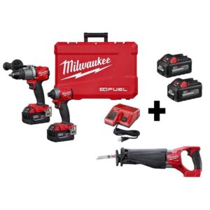 Milwaukee M18 FUEL 18-Volt Lithium-Ion Brushless Cordless Hammer Drill/SAWZALL/Impact Driver Combo Kit (3-Tool)