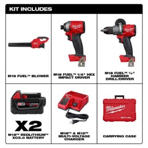 Milwaukee M18 FUEL 18-Volt Lithium-Ion Brushless Cordless Hammer Drill and Impact Driver Combo Kit (2-Tool) with FUEL Blower