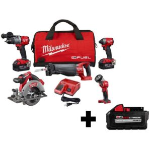 Milwaukee M18 FUEL 18-Volt Lithium-Ion Brushless Cordless Combo Kit (5-Tool) with Bonus XC 8.0Ah HIGH OUTPUT Battery