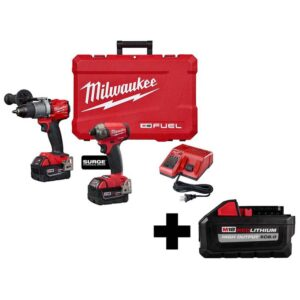 Milwaukee M18 FUEL 18-Volt Lithium-Ion Brushless Cordless Surge Impact/Hammer Drill Combo Kit with HIGH OUTPUT 8.0Ah Battery