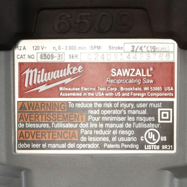 Milwaukee 12 Amp 3/4 in. Stroke SAWZALL Reciprocating Saw with Hard Case