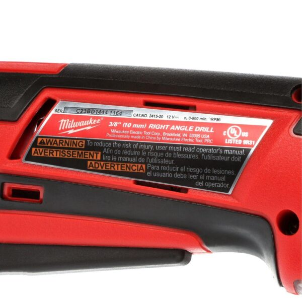 Milwaukee M12 12-Volt Lithium-Ion Cordless 3/8 in. Right Angle Drill (Tool-Only)
