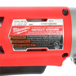 Milwaukee M18 18-Volt Lithium-Ion Cordless 1/4 in. Hex 2-Speed Right Angle Impact Driver (Tool-Only)