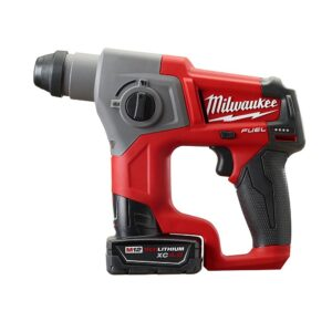 Milwaukee M12 FUEL 12-Volt Lithium-Ion Brushless Cordless 5/8 in. SDS-Plus Rotary Hammer Kit with One 4.0Ah Battery and Bag