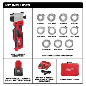 Milwaukee M12 12-Volt Lithium-Ion Cordless Cable Stripper Kit for Cu THHN/XHHW Wire