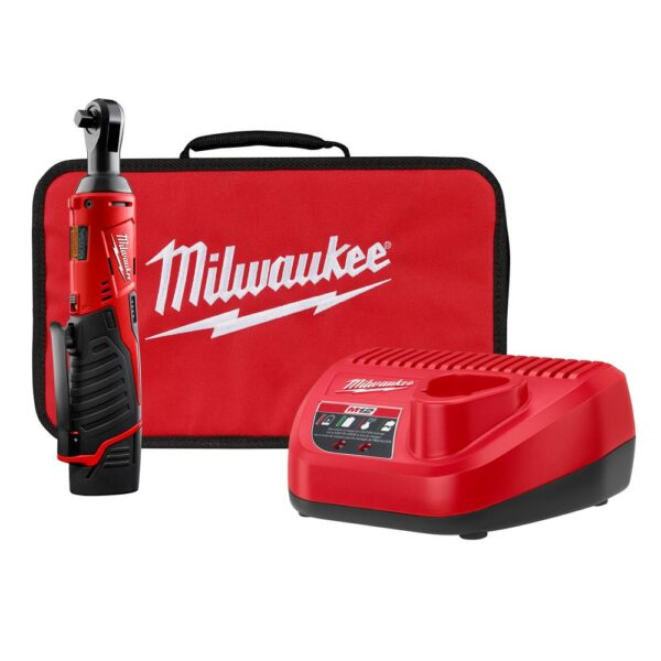Milwaukee M12 12-Volt 3/8 in. Lithium-Ion Cordless Ratchet Kit with 1.5Ah Battery, Charger and Tool Bag