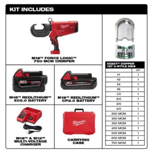 Milwaukee M18 18-Volt Lithium-Ion Cordless FORCE LOGIC 750 MCM Crimper Kit with EXACT #6 750 MCM Cu Dies and M18 FUEL Combo Kit