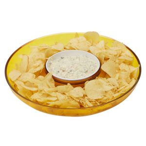 Mind Reader 13 in. x 2.25 in. Yellow Acrylic Chip & Dip Bowl, Acrylic Tinted Snack Bowl, Kitchen, Countertop Bowl