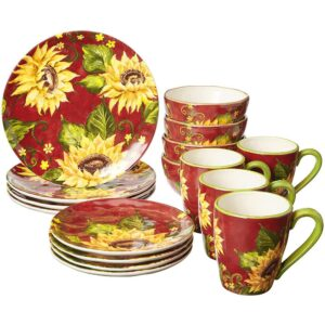 Certified International Sunset Sunflower 16-Piece Traditional Multi-color Ceramic Dinnerware Set (Service for 4)