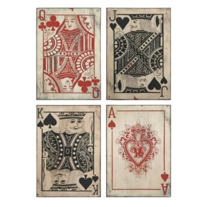 IMAX Leonato 18 in. H x 12.75 in. W Iron Playing Card Wall Decor (Set of 4)