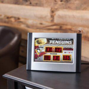 Team Sports America Pittsburgh Penguins NHL Multi-Color Scoreboard Alarm Clock