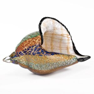 Badash Crystal 13 in. L x 8 ft. H Murano style Artistic Glass Large Conch Shell