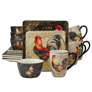 Certified International Gilded Rooster 16-Piece Traditional Multi-Colored Ceramic Dinnerware Set (Service for 4)