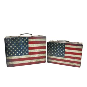 Northlight 14.5 in. to 17 in. Rustic American Flag Rectangular Wooden Decorative Storage Boxes (Set of 2)