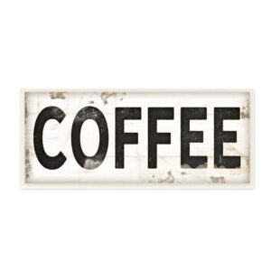 """Stupell Industries 7 in. x 17 in. """"COFFEE Typography Vintage Sign"""" by Jennifer Pugh Printed Wood Wall Art"""
